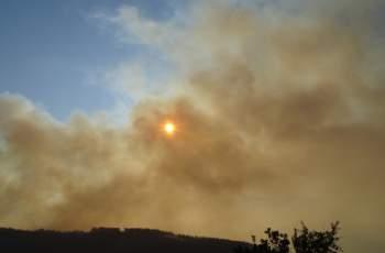 Пожарът над Карлово се разнася заради силния вятър