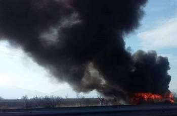 """Автобус избухна в пламъци на магистрала """"Хемус"""""""