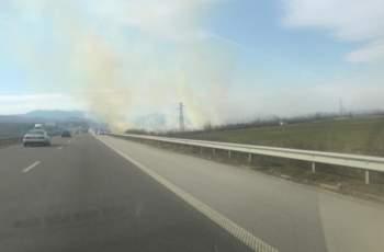 """Извънредно! Голям пожар на магистрала """"Тракия"""" СНИМКИ"""